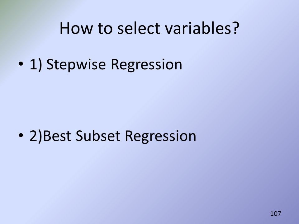 How to select variables