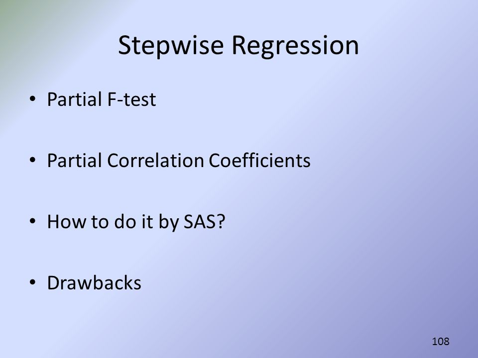 Stepwise Regression Partial F-test Partial Correlation Coefficients