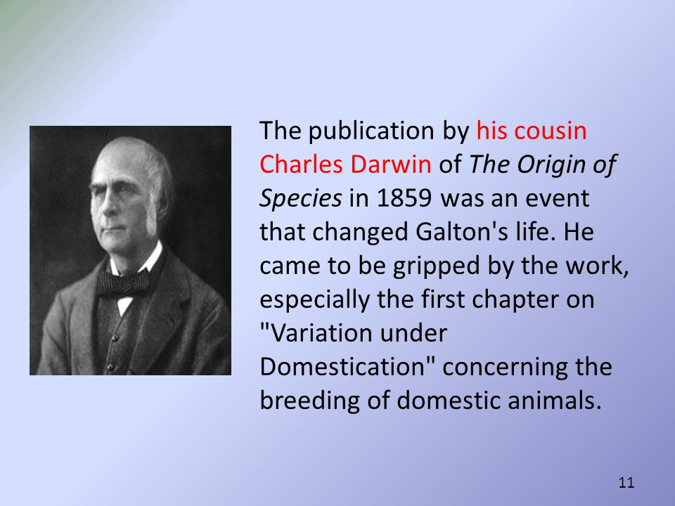The publication by his cousin Charles Darwin of The Origin of Species in 1859 was an event that changed Galton s life.