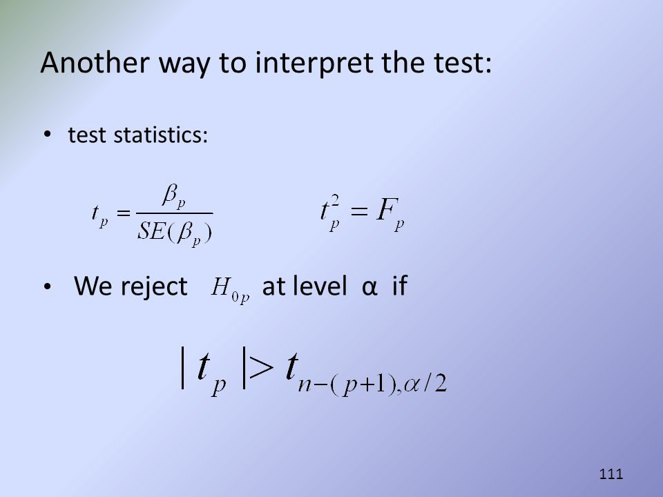 Another way to interpret the test:
