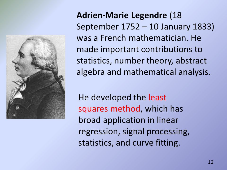 Adrien-Marie Legendre (18 September 1752 – 10 January 1833) was a French mathematician. He made important contributions to statistics, number theory, abstract algebra and mathematical analysis.