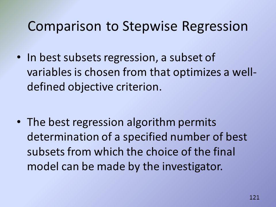 Comparison to Stepwise Regression