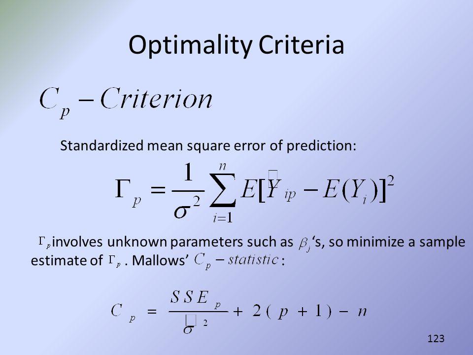 Optimality Criteria Standardized mean square error of prediction: