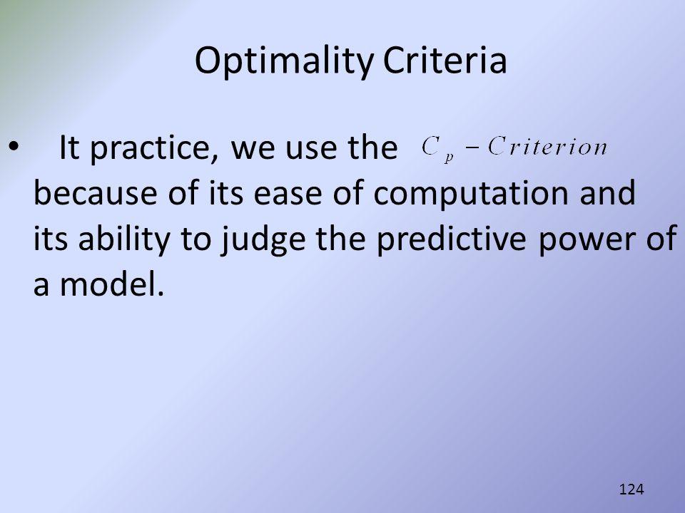 Optimality Criteria