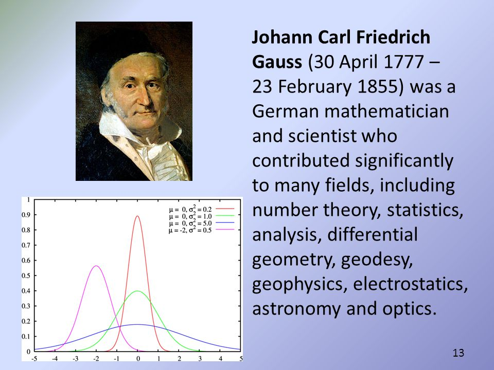 Johann Carl Friedrich Gauss (30 April 1777 – 23 February 1855) was a German mathematician and scientist who contributed significantly to many fields, including number theory, statistics, analysis, differential geometry, geodesy, geophysics, electrostatics, astronomy and optics.