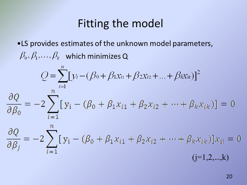 Fitting the model LS provides estimates of the unknown model parameters, which minimizes Q.