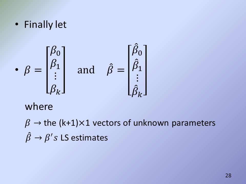 𝛽→ the (k+1)×1 vectors of unknown parameters