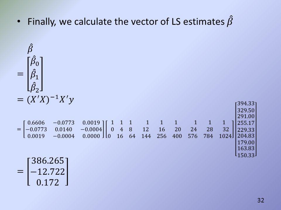 Finally, we calculate the vector of LS estimates 𝛽