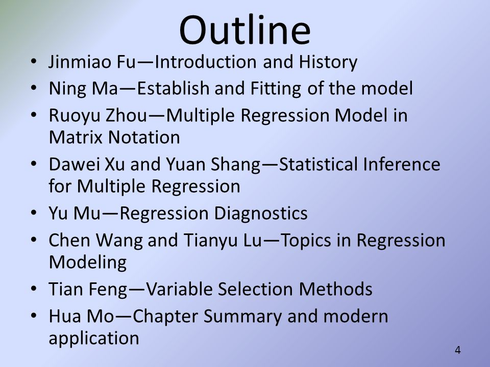 Outline Jinmiao Fu—Introduction and History