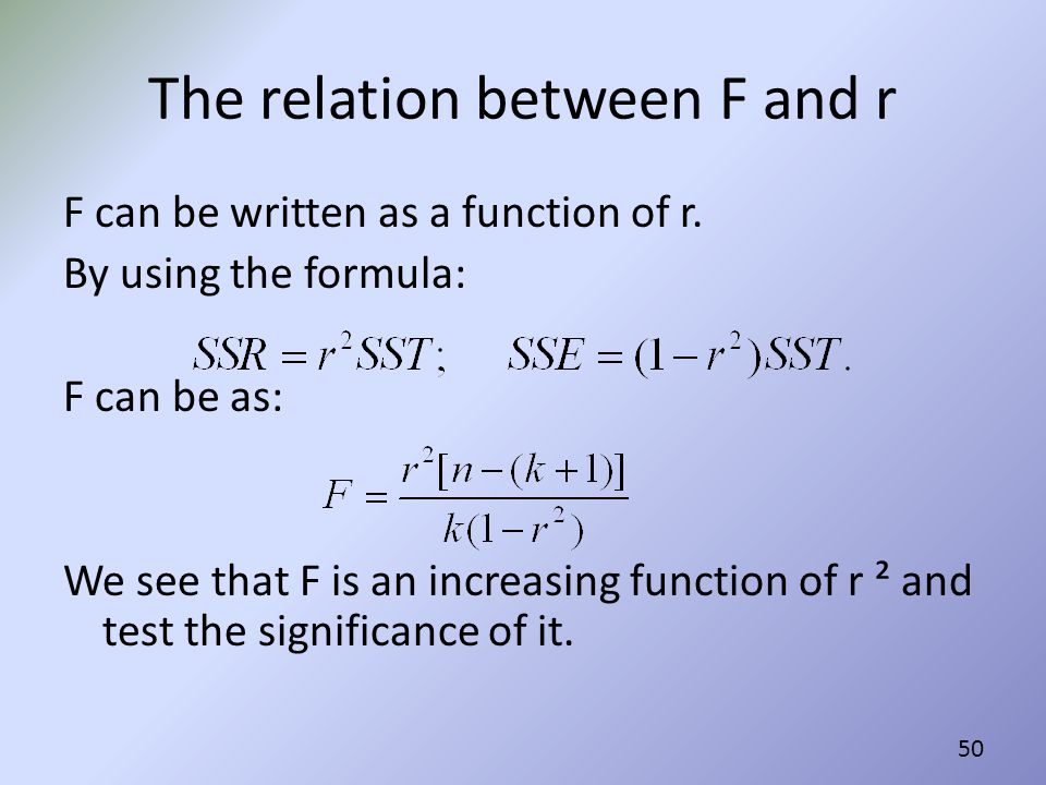 The relation between F and r
