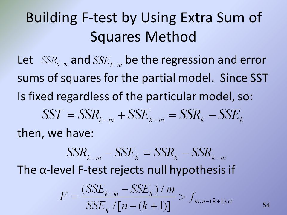 Building F-test by Using Extra Sum of Squares Method