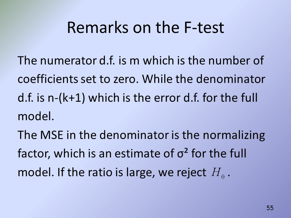 Remarks on the F-test