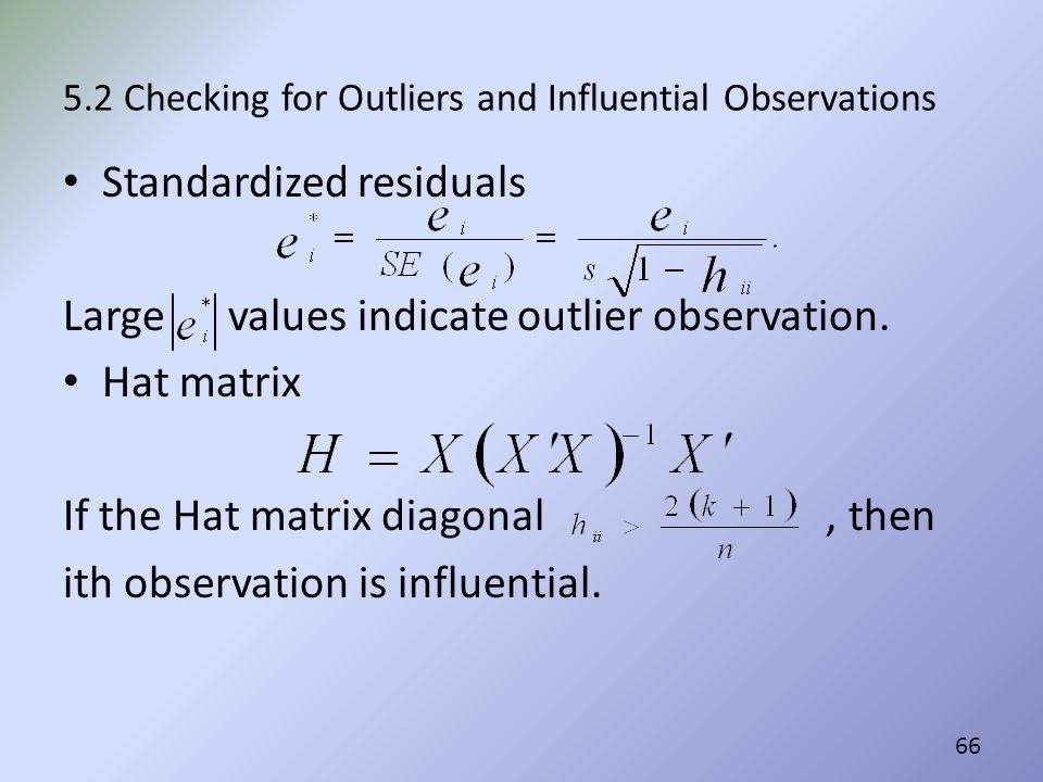 5.2 Checking for Outliers and Influential Observations