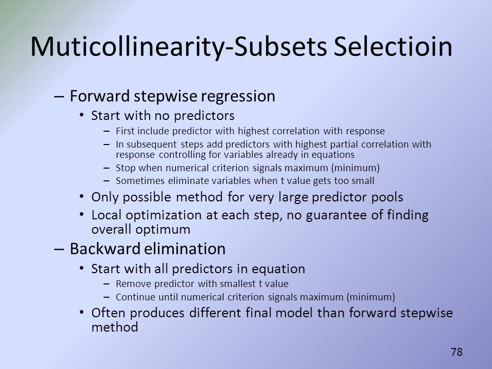 Muticollinearity-Subsets Selectioin