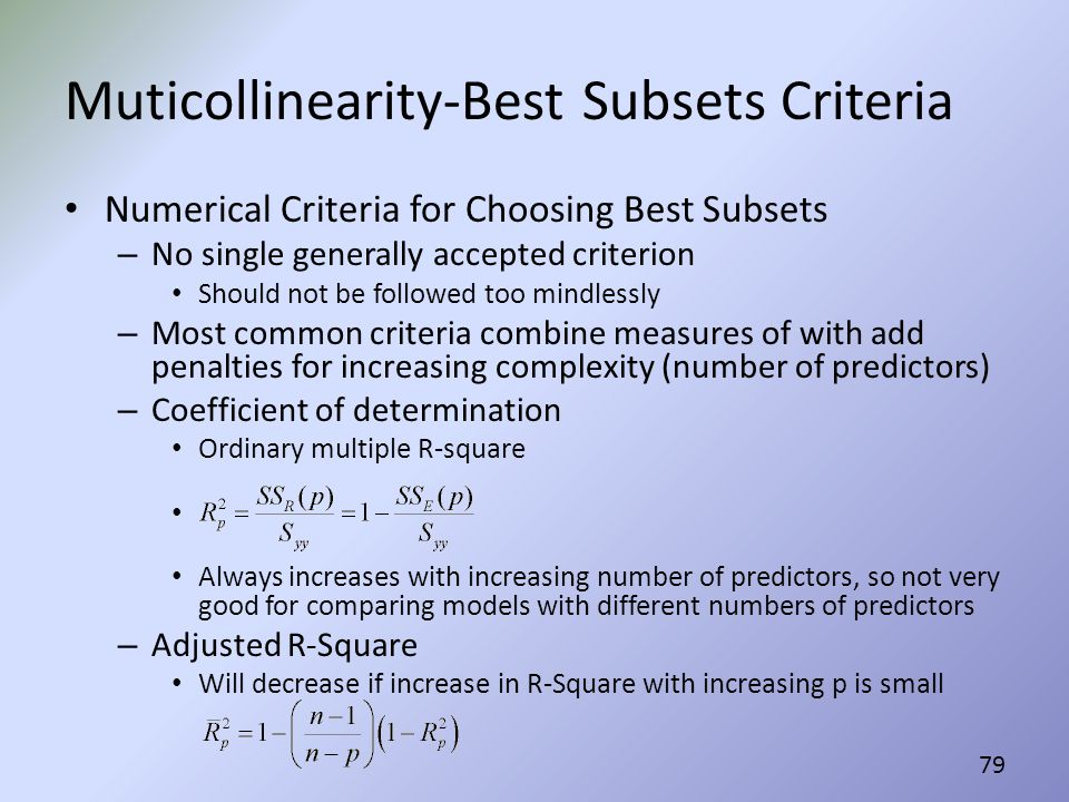 Muticollinearity-Best Subsets Criteria