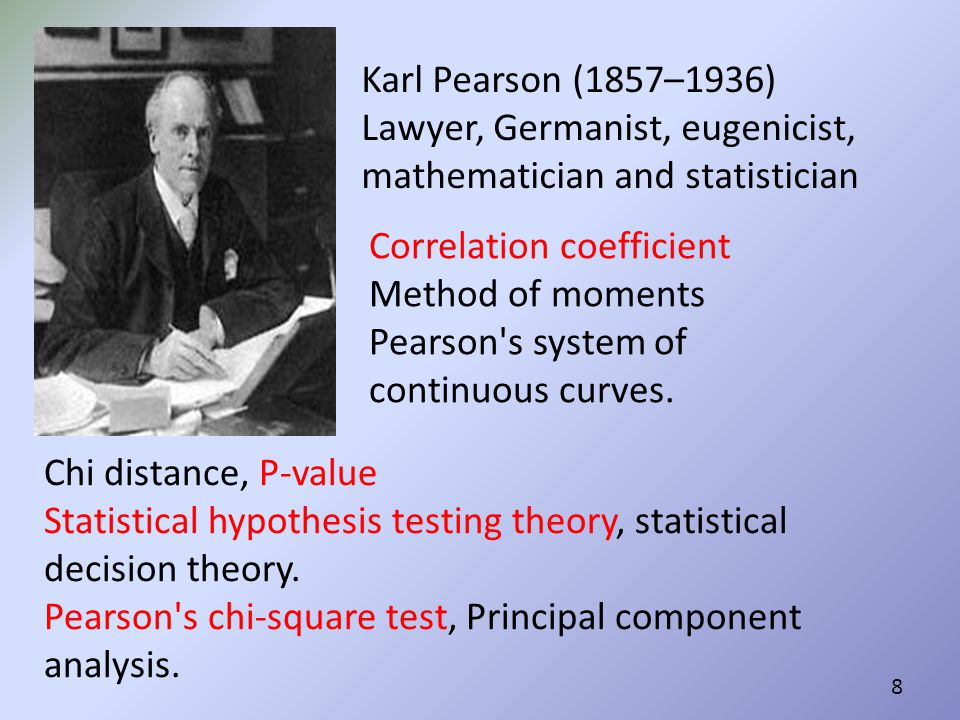 Karl Pearson (1857–1936) Lawyer, Germanist, eugenicist, mathematician and statistician. Correlation coefficient Method of moments.
