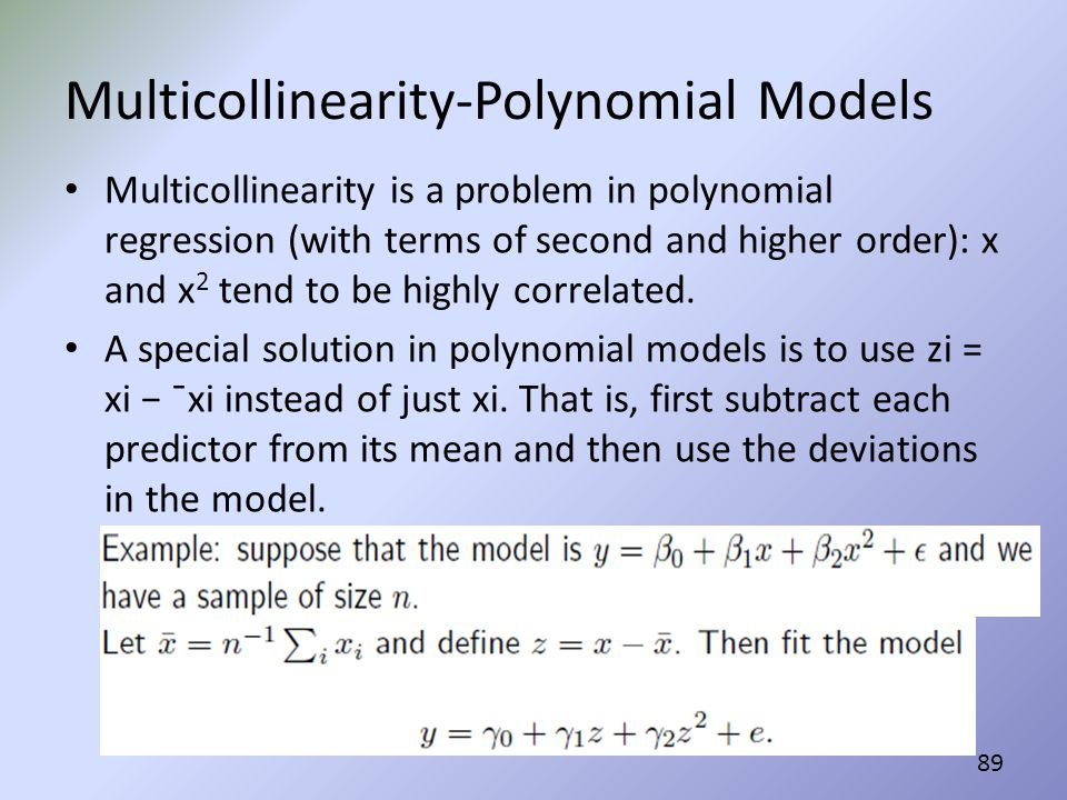 Multicollinearity-Polynomial Models