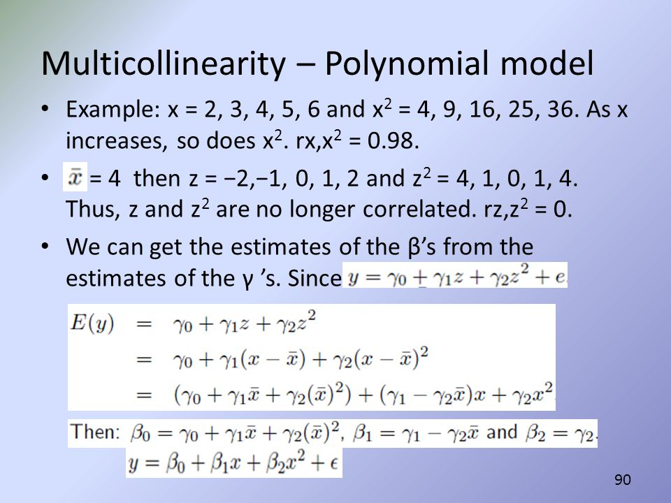 Multicollinearity – Polynomial model