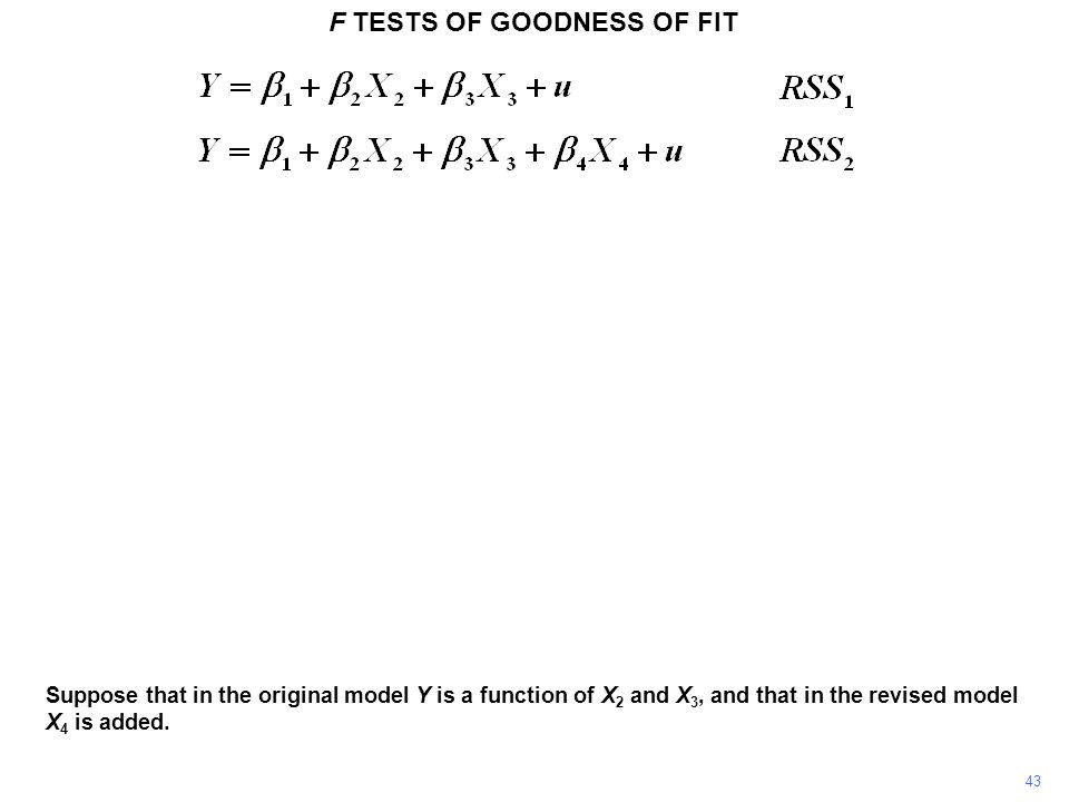F TESTS OF GOODNESS OF FIT