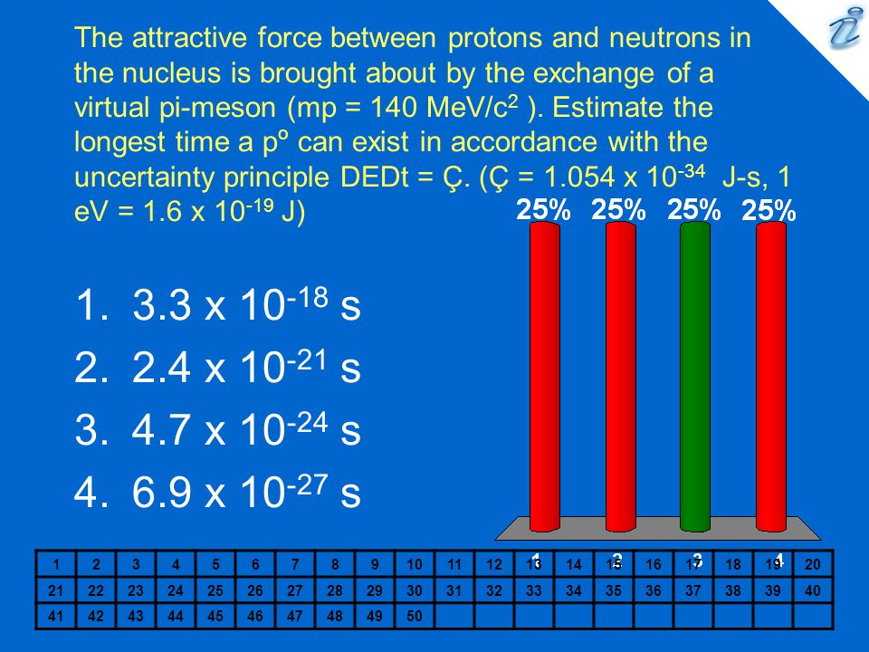 The attractive force between protons and neutrons in the nucleus is brought about by the exchange of a virtual pi-meson (mp = 140 MeV/c2 ). Estimate the longest time a po can exist in accordance with the uncertainty principle DEDt = Ç. (Ç = x J-s, 1 eV = 1.6 x J)