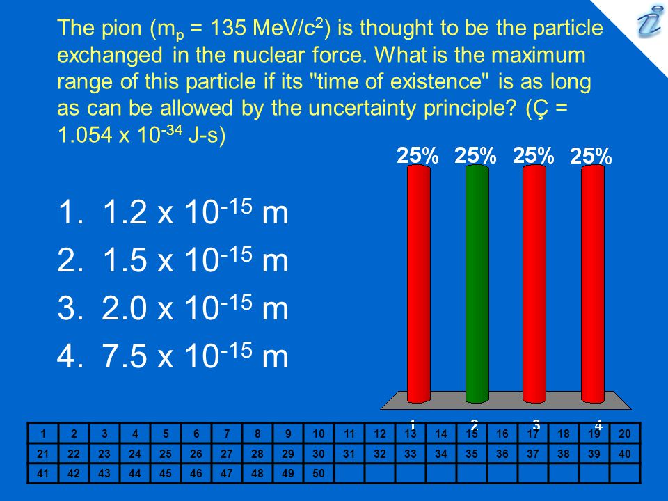 The pion (mp = 135 MeV/c2) is thought to be the particle exchanged in the nuclear force. What is the maximum range of this particle if its time of existence is as long as can be allowed by the uncertainty principle (Ç = x J-s)