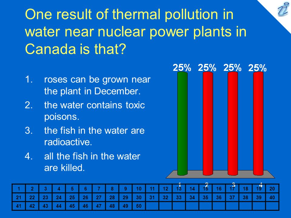 One result of thermal pollution in water near nuclear power plants in Canada is that