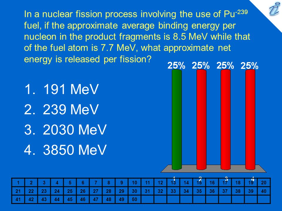 In a nuclear fission process involving the use of Pu-239 fuel, if the approximate average binding energy per nucleon in the product fragments is 8.5 MeV while that of the fuel atom is 7.7 MeV, what approximate net energy is released per fission