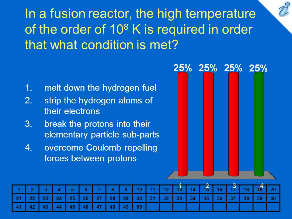 In a fusion reactor, the high temperature of the order of 108 K is required in order that what condition is met