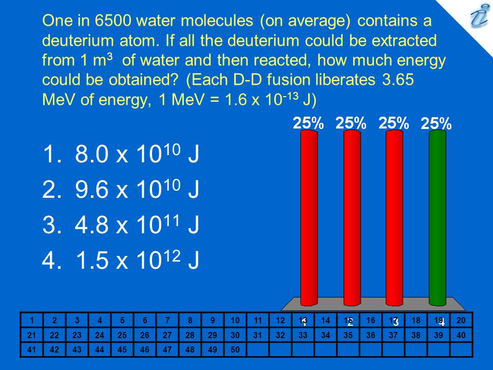 One in 6500 water molecules (on average) contains a deuterium atom