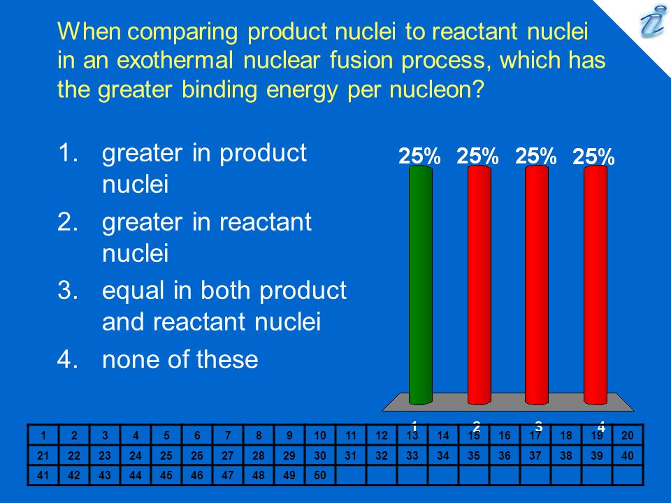 greater in product nuclei greater in reactant nuclei