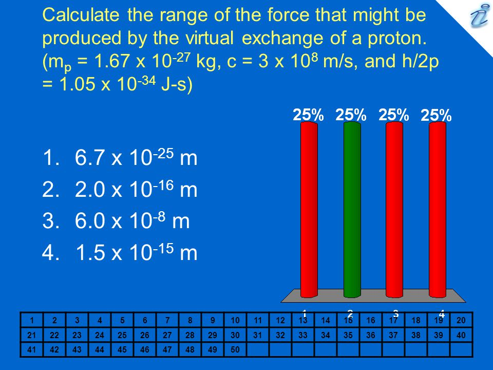 Calculate the range of the force that might be produced by the virtual exchange of a proton. (mp = 1.67 x 10-27 kg, c = 3 x 108 m/s, and h/2p = 1.05 x 10-34 J-s)