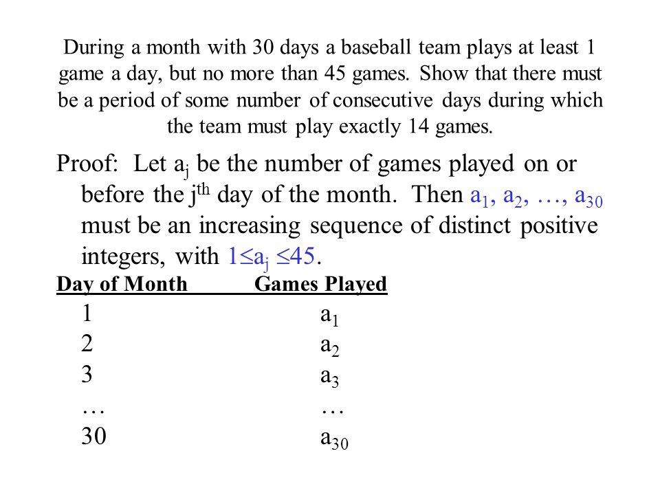 During a month with 30 days a baseball team plays at least 1 game a day, but no more than 45 games. Show that there must be a period of some number of consecutive days during which the team must play exactly 14 games.