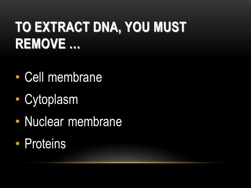 To Extract DNA, You Must Remove …