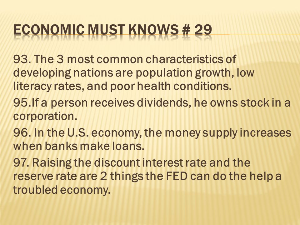 ECONOMIC MUST KNOWS # 29