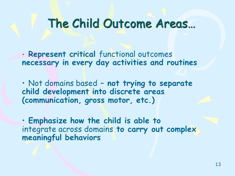 The Child Outcome Areas…