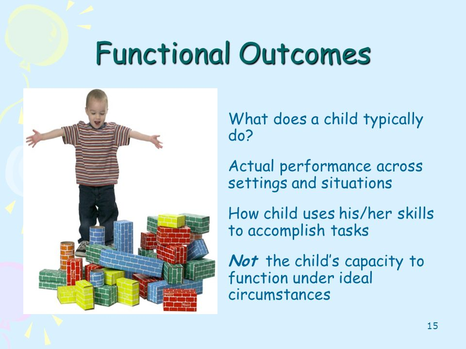 Functional Outcomes What does a child typically do