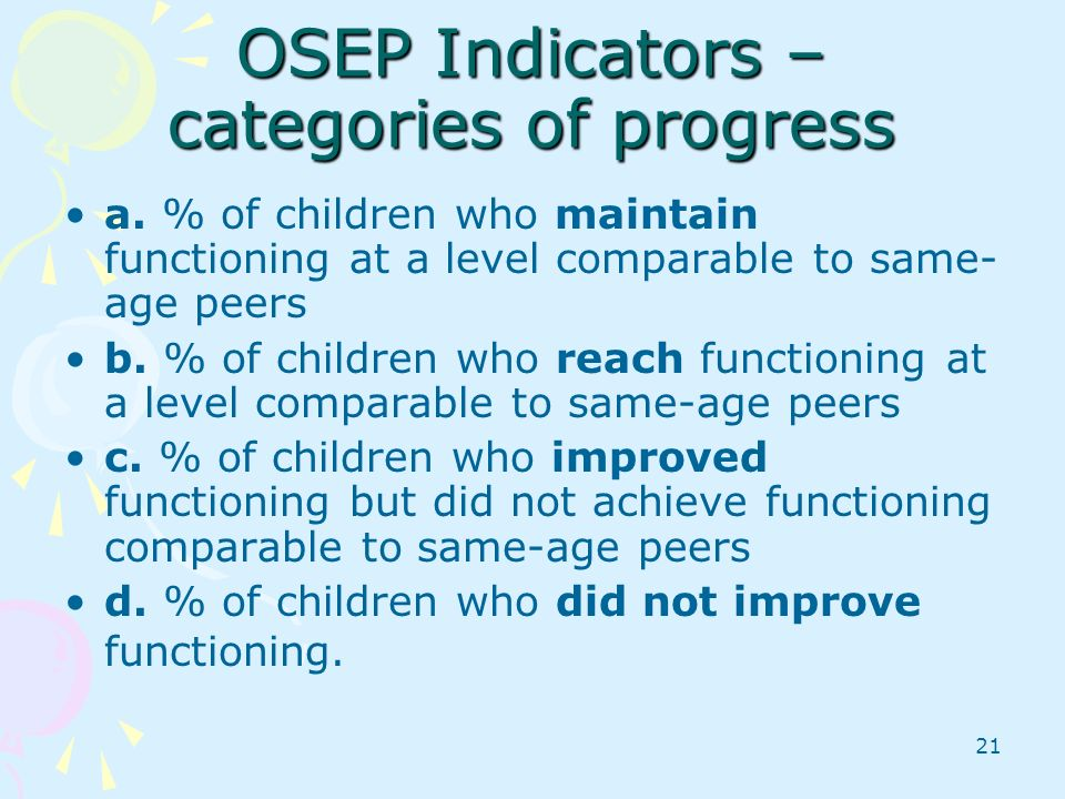 OSEP Indicators – categories of progress
