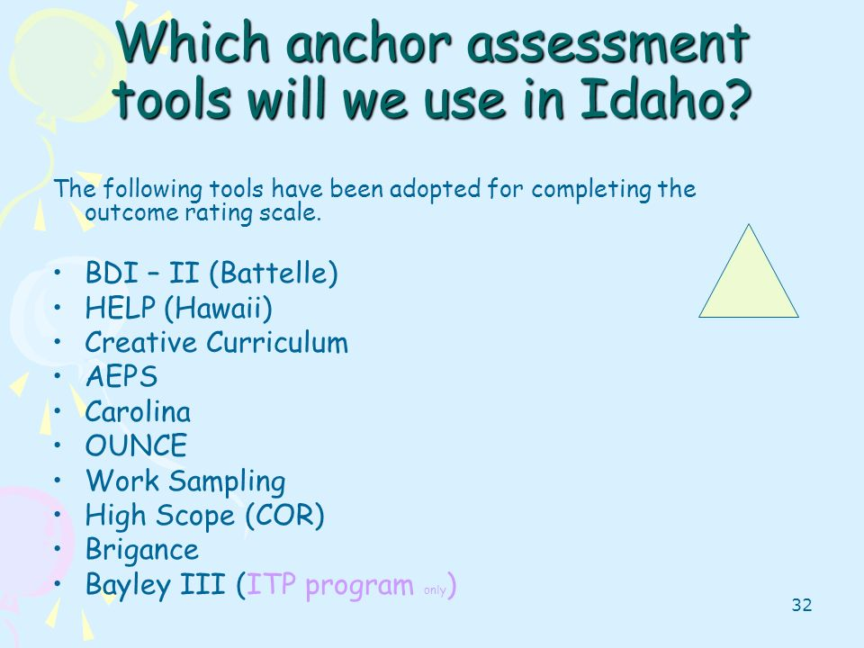 Which anchor assessment tools will we use in Idaho