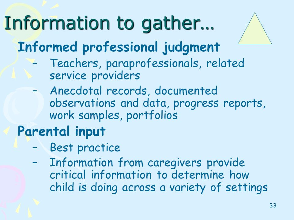 Information to gather…