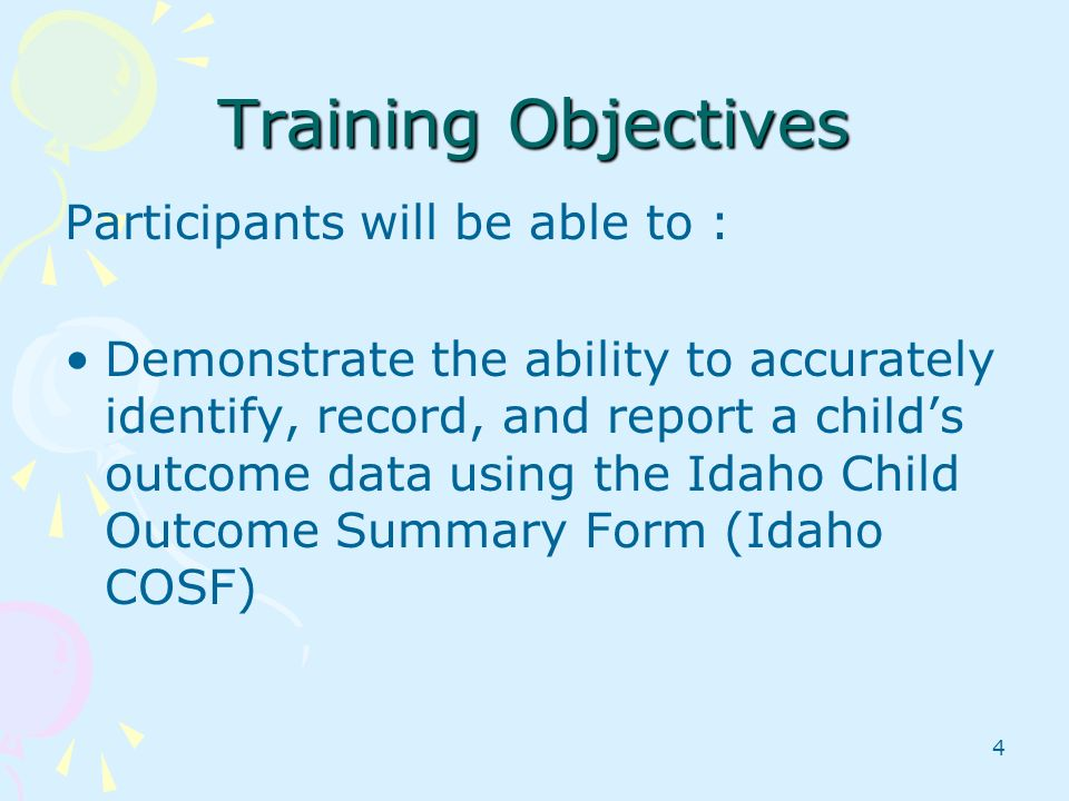 Training Objectives Participants will be able to :