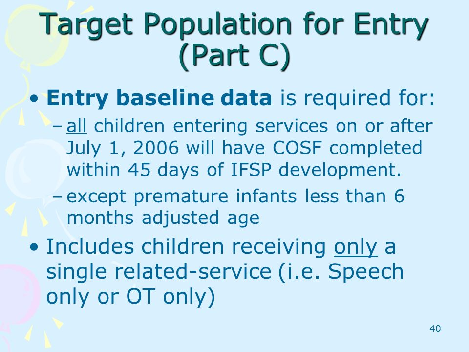 Target Population for Entry (Part C)