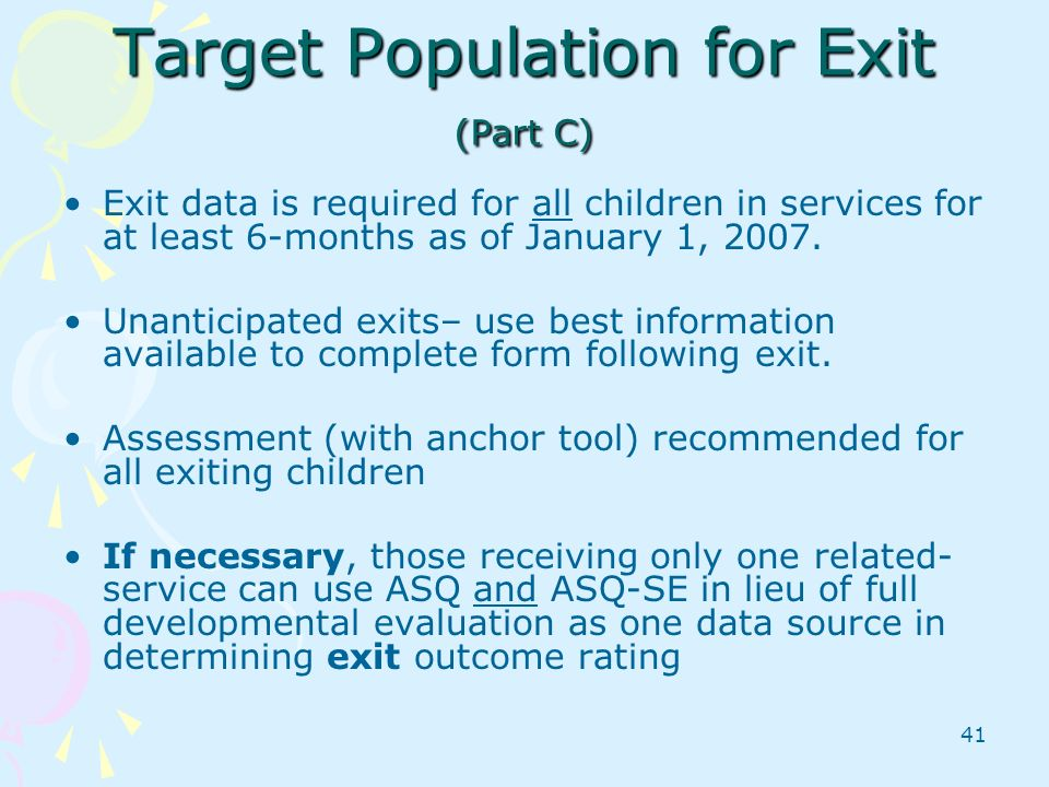 Target Population for Exit (Part C)