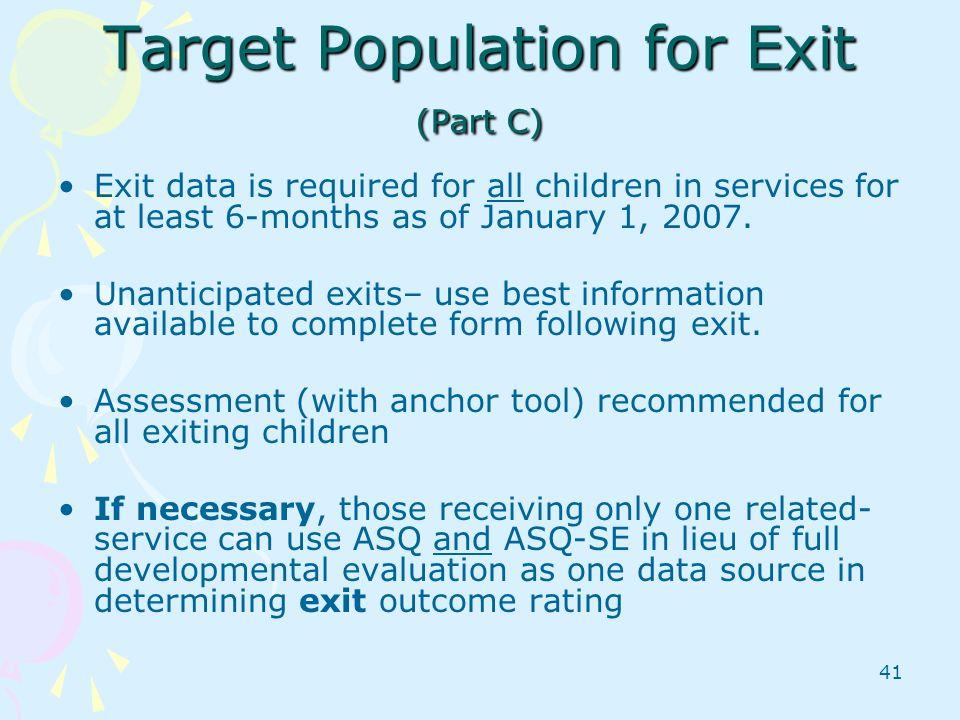 Target Population for Exit (Part C)
