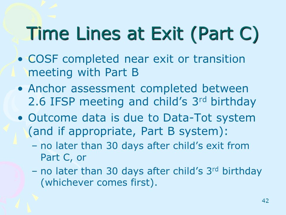 Time Lines at Exit (Part C)