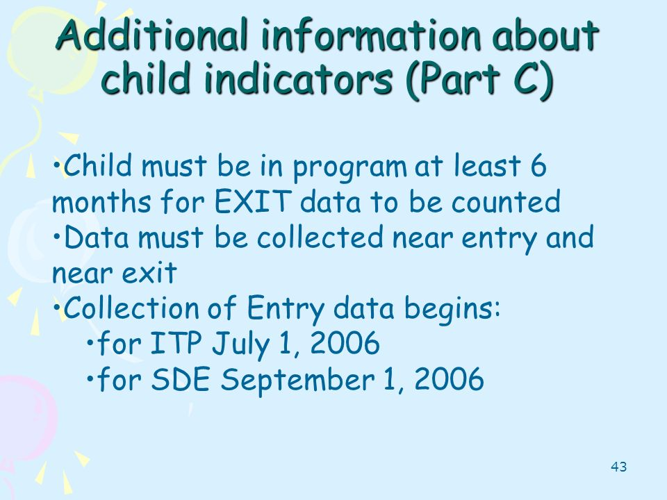 Additional information about child indicators (Part C)