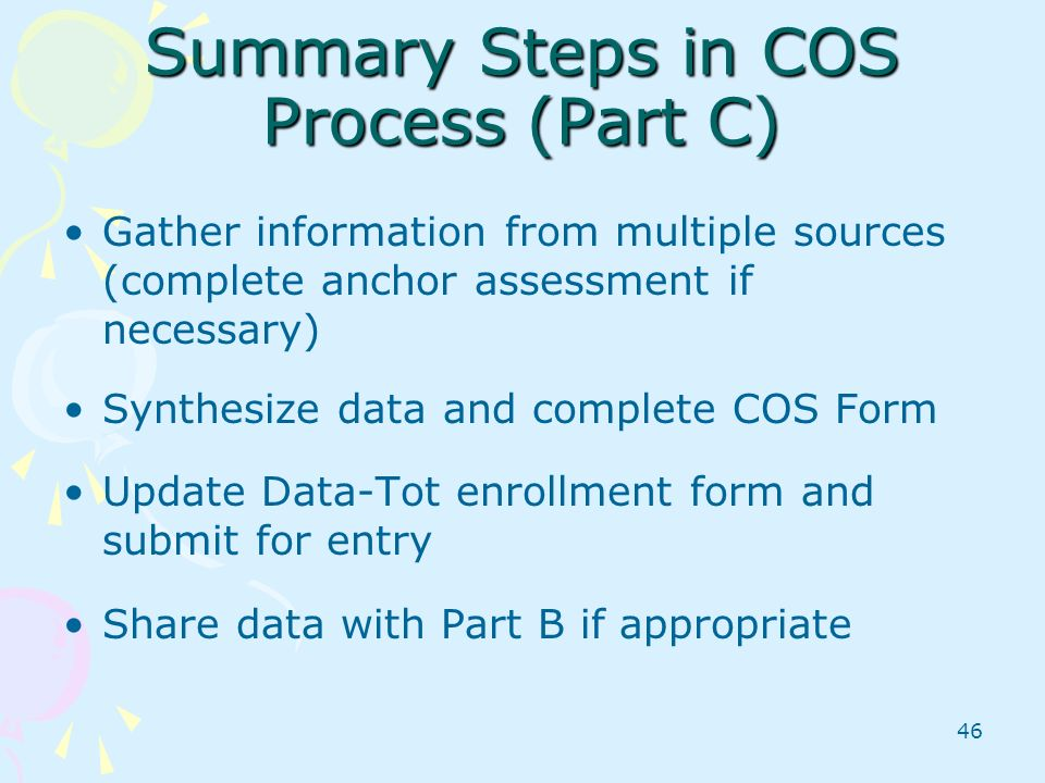 Summary Steps in COS Process (Part C)