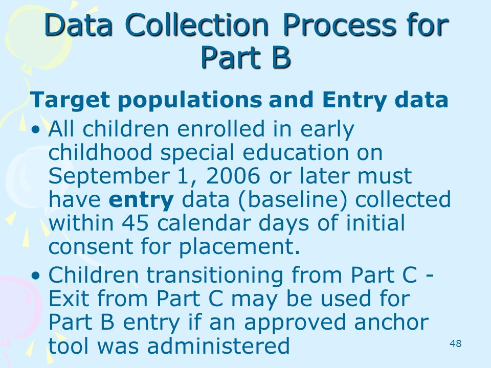Data Collection Process for Part B
