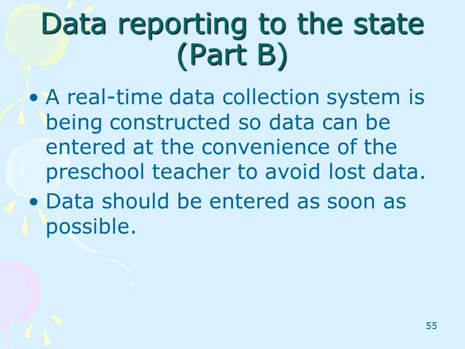 Data reporting to the state (Part B)