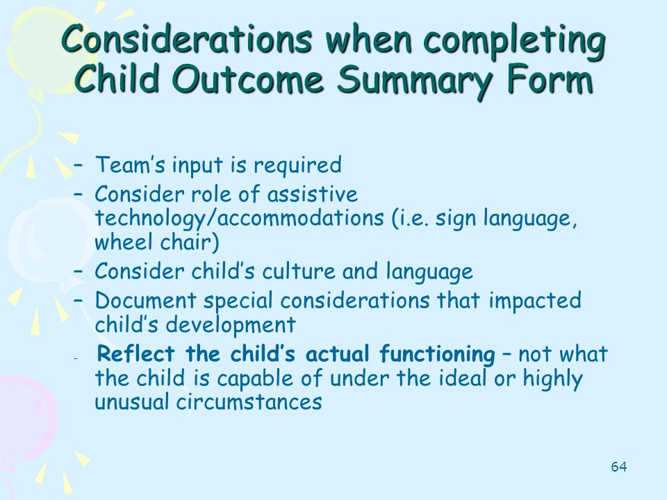 Considerations when completing Child Outcome Summary Form