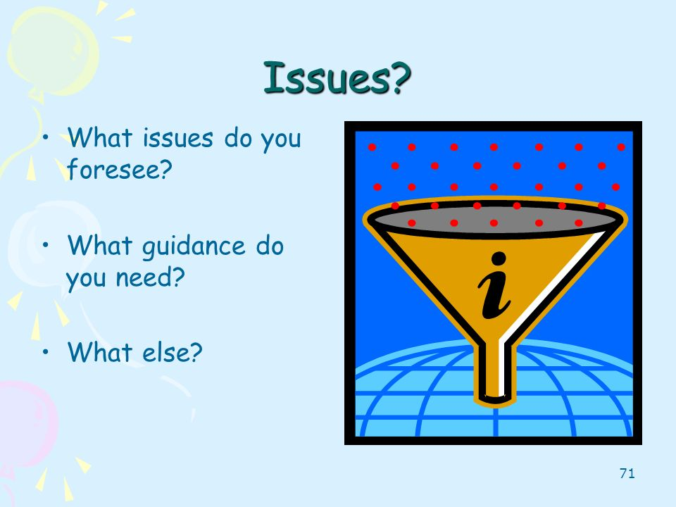 Issues What issues do you foresee What guidance do you need